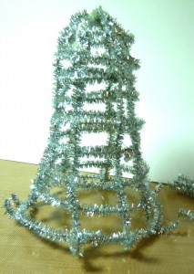 Completed woven tinsel stems