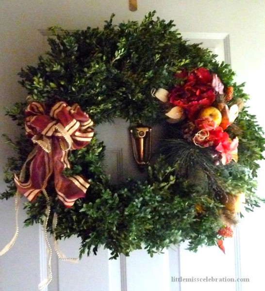 The finished wreath on the front door