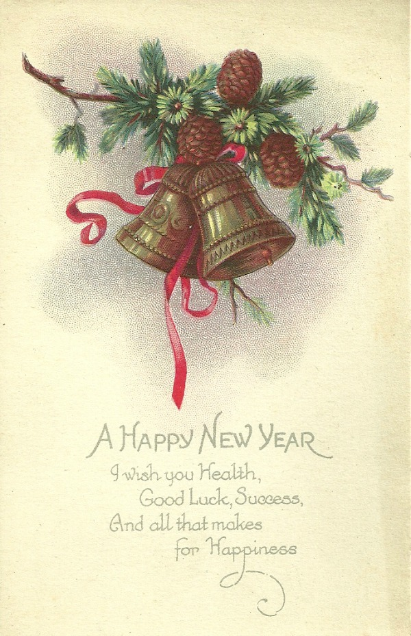 A Happy New Year Vintage Postcard, 1925