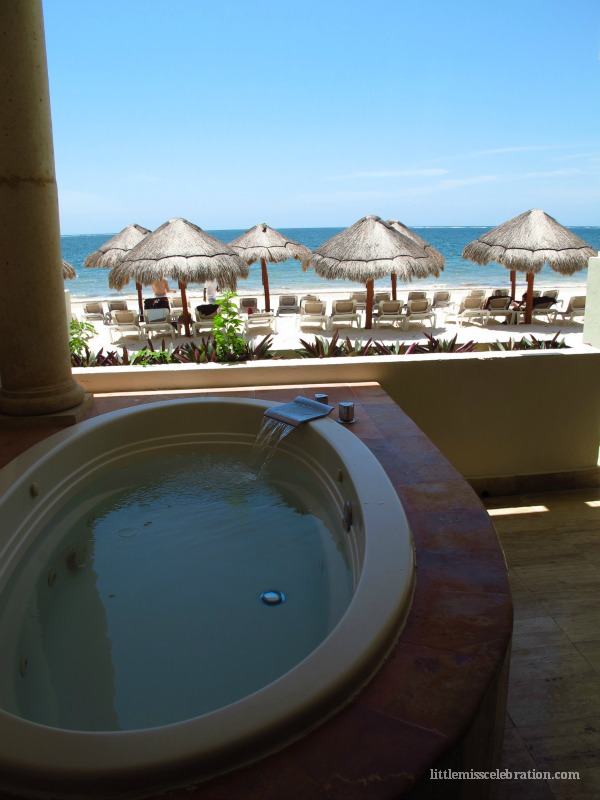 Jacuzzi on room deck overlooking the beach!