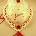 Red and White Doily Pocket