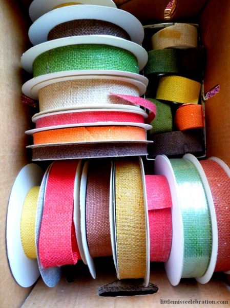 Box of burlap ribbon