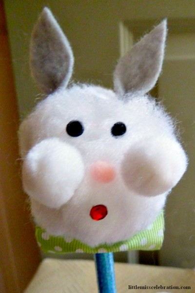 Boy Bunny pencil topper, quick and easy to make! At littlemisscelebration.com