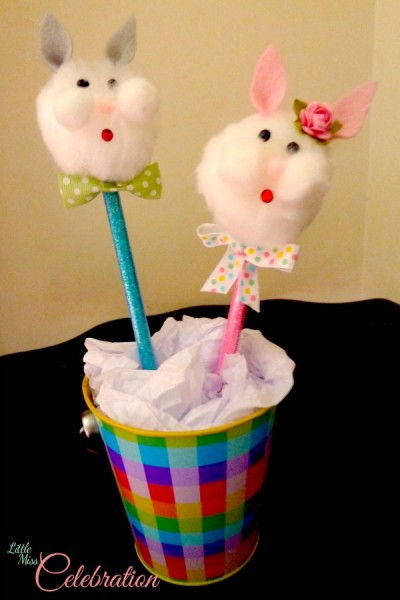 Quick and Easy to make Bunny Pencil Topper