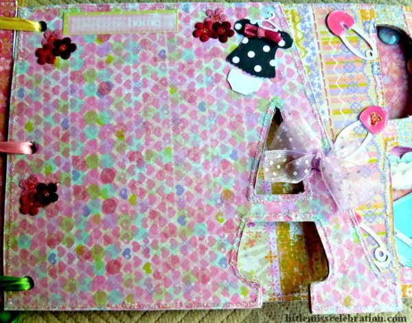 Embellished Letter A of baby girl album