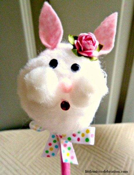 Girl Bunny Pencil topper, quick and easy to make! At littlemisscelebration.com