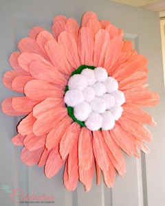 DIY {Big} Paper Twist Door Flower - Get the how-to at littlemisscelebration.com!