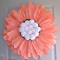 DIY {Big} Paper Twist Door Flower! How-to at littlemisscelebration.com @CindyEikenberg