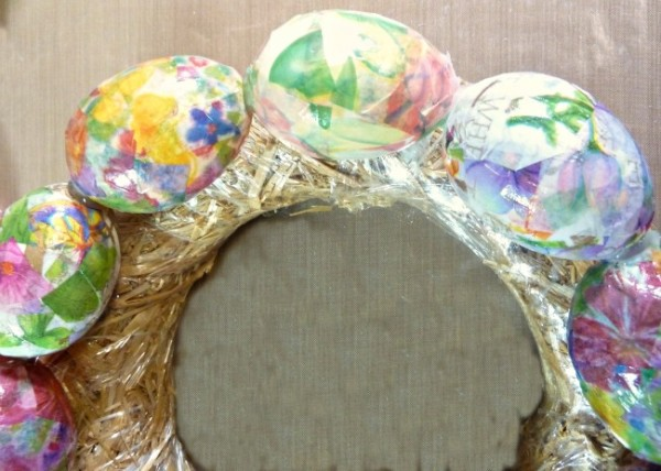 "Glue Mod Podged eggs together for ""wreathless"" egg and ribbon wreath"