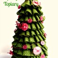 Burlap Ribbon Evergreen Spring Topiary