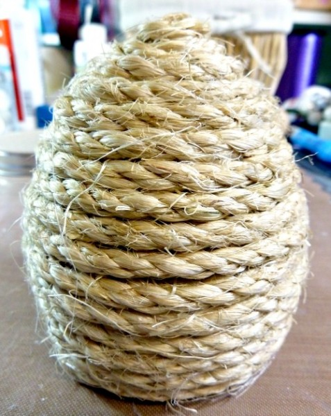 Egg completely wrapped in rope