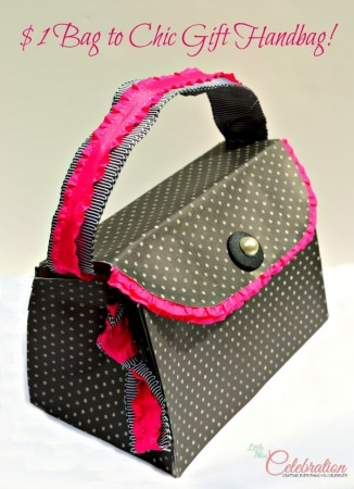 "Transform a $1 bag into a chic, ""handbag"" gift bag! Get the tutorial at Little Miss Celebration @CindyEikenberg"