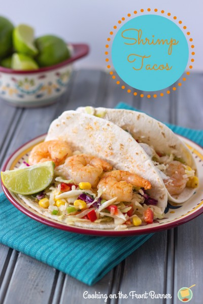Shrimp Tacos with Spicy Coleslaw from Cooking on the Front Burner