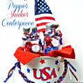 Easy and inexpensive Patriotic Salt & Pepper Shaker Centerpiece. Fun project for Mom and kids - so cute! At Little Miss Celebration @CindyEikenberg