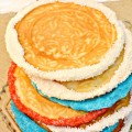 July 4th Pizzelles - dress up your own or ready-made pizzelles with red, white & blue to celebrate the 4th! Recipe and inspiration at Little Miss Celebration @CindyEikenberg