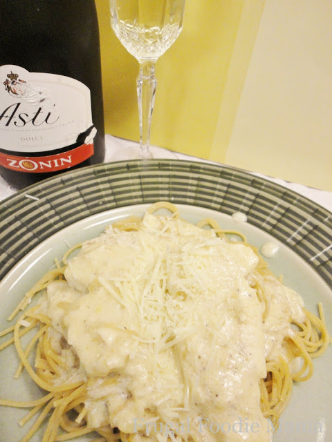 Chicken Pasta with Champagne Cream Sauce at Frugal Foodie Mama