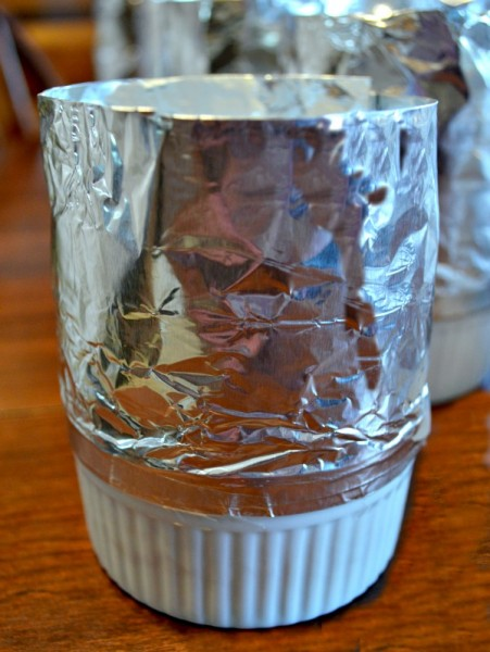 Individual souffle cups with aluminum foil collars