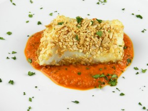 Tortilla-Crusted Sea Bass with Roasted Red Pepper Puree from Cooking with Curls