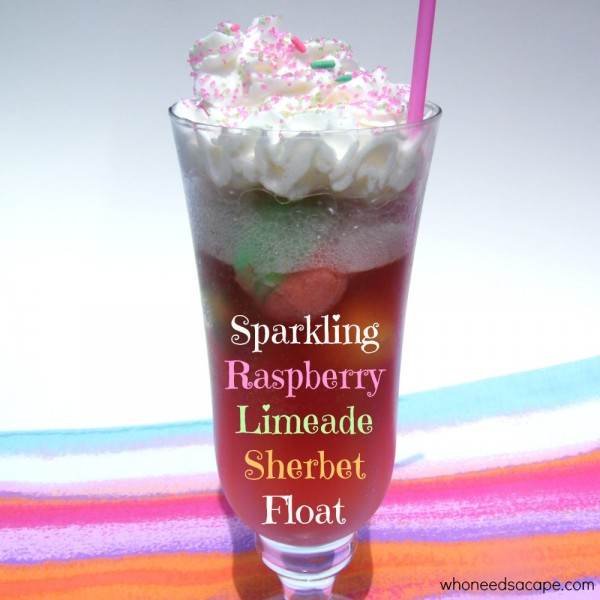 Sparkling Raspberry Limeade Sherbet Float from Who Needs a Cape?