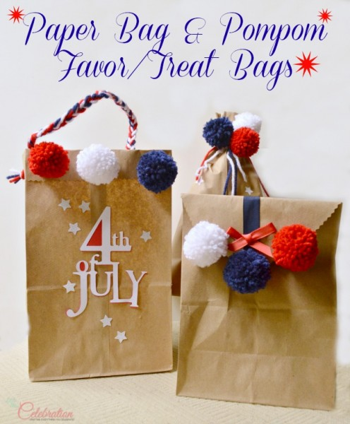 Paper Bag & Pompom Favor/Treat bags - easy, inexpensive and fun for the 4th or any celebration! At Little Miss Celebration