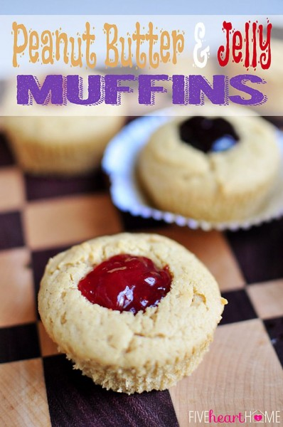 Peanut Butter & Jelly Muffins from Five Heart Home