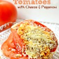 Scalloped Tomatoes with Cheese & Pepperoni - a delicious side dish or hearty enough for the entree. Perfect for busy weeknights-on the table in under 30 minutes! littlemisscelebration.com