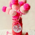 Pom Pom Flowers of Hope Bouquet - put them on your desk, give some away and support hope, awareness and cure during October. From Little Miss Celebration