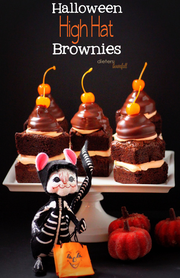 Halloween High Hat Brownies from Dieters Downfall