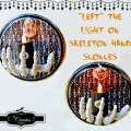 """Left"" The Light On Skeleton Hand Sconces - a little eerie Halloween light for indoors or outdoors! From littlemisscelebration.com"