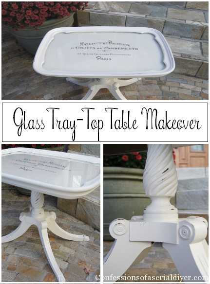 Glass Tray Top Table Makeover by Confessions of a Serial Do-It-Yourselfer