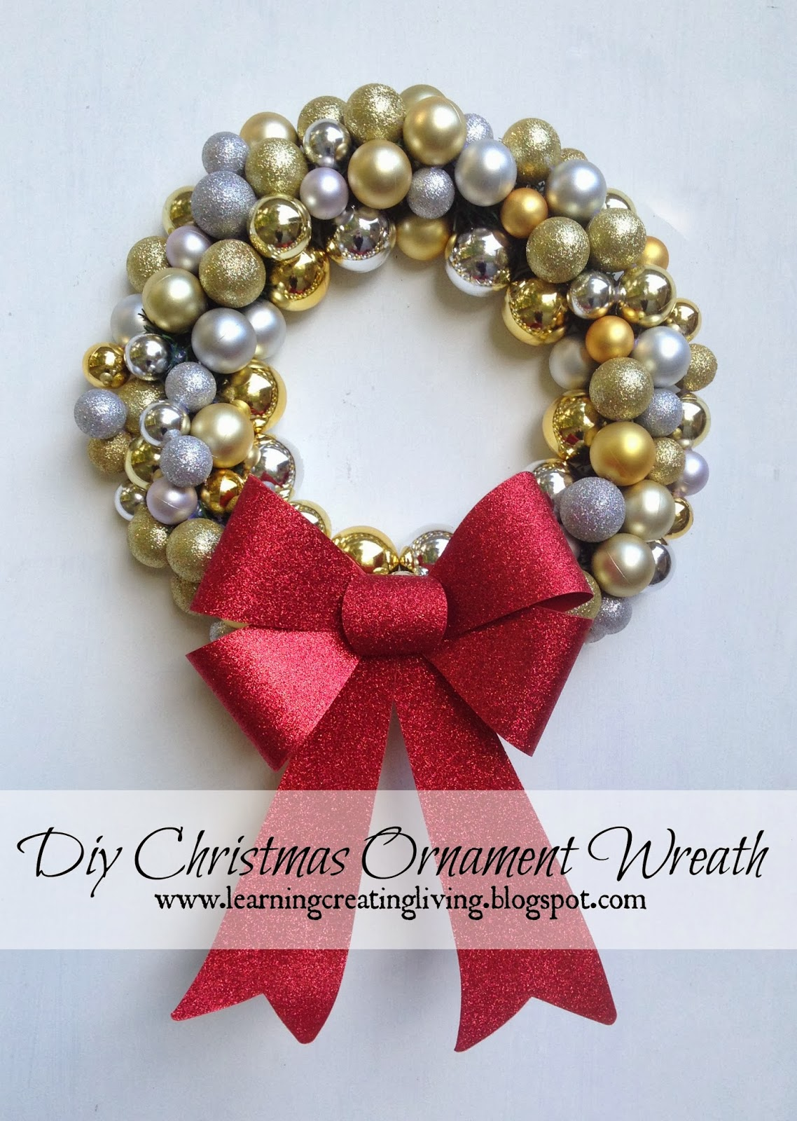 DIY Christmas Ornament Wreath from Learning, Creating, Living