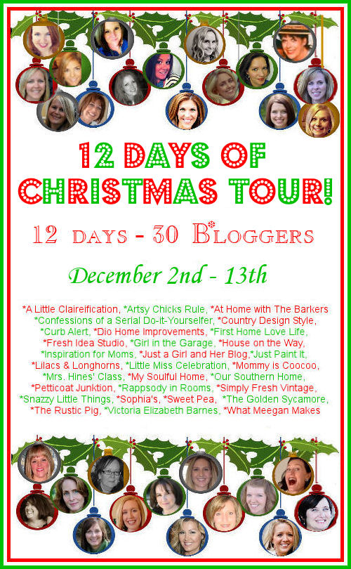 Join 30 great bloggers for The 12 Days of Christmas Tour! Lots of fun, inspiration and holiday cheer from December 2-13!