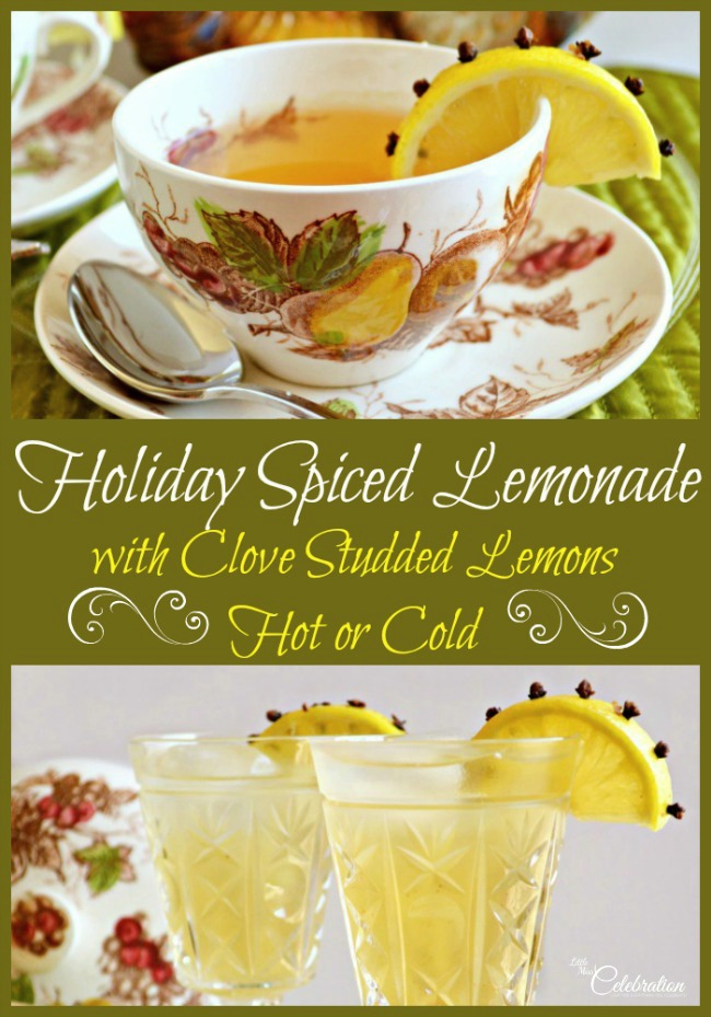 Holiday Spiced Lemonade with Clove Studded Lemons - delicious hot or cold! From littlemisscelebration.com