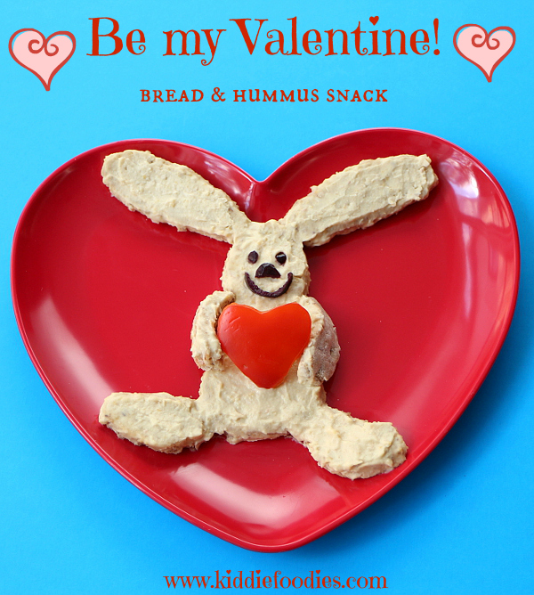 Be My Valentine-Rabbit with a Heart Bread and Hummus Snack from Kiddie Foodies