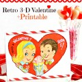 Make a fast and sweet Retro 3-D Valentine with this sweet printable. So cute! littlemisscelebration.com