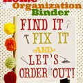 Find It, Fix It & Let's Order Out! Easy, fast + functional Home Organization Binder for take-out menus, manuals and and more from littlemisscelebration.com