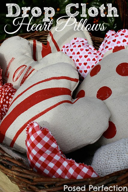 Drop Cloth Heart Pillows from Posed Perfection