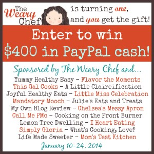 The Weary Chef is turning one! We're celebrating with a chance for you to win $400 in PayPal cash!