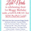 $250 Paypal Cash Giveaway celebrating the 1st Bloggy Birthday of The Love Nerds! at littlemisscelebration.com
