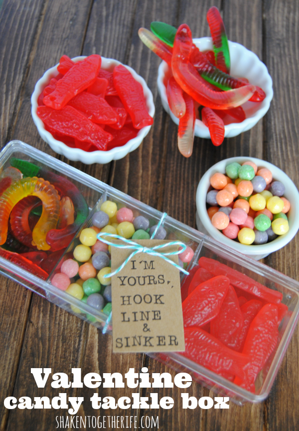 Valentine Candy Tackle Box for the Guys from Shaken Together