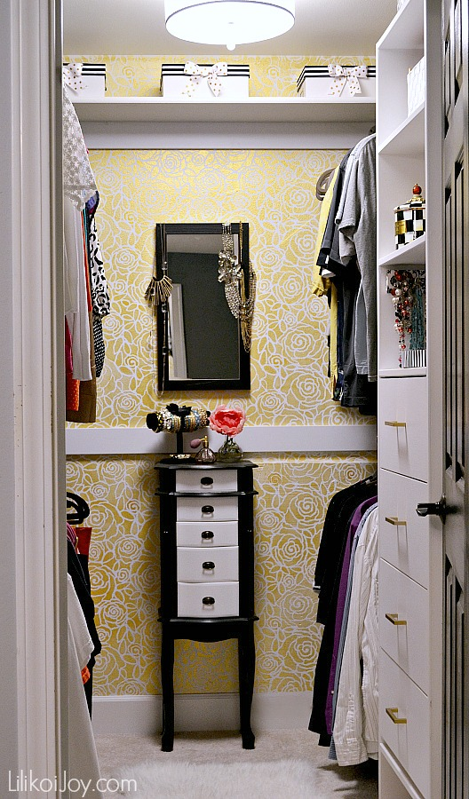 Master Closet Makeover + Stenciling a Glam Gold Wall from Lilikoi Joy