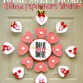 Home Sweet Home Foam & Paper Heart Wreath - a heartfelt welcome for your front door! At littlemisscelebration.com