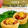"Homemade Chili in Cheesy Crescent Cups - thick, rich chili in buttery, flaky and delicious ""cups!"" At littlemisscelebration.com"