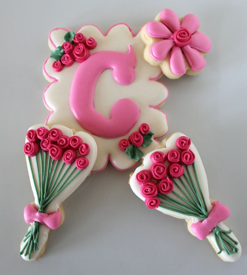 Spring Inspired Decorated Cookies Featuring Roses and Monograms from The Crafting Foodie