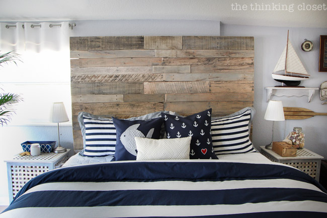 How To Build a Wood Pallet Headboard from The Thinking Closet