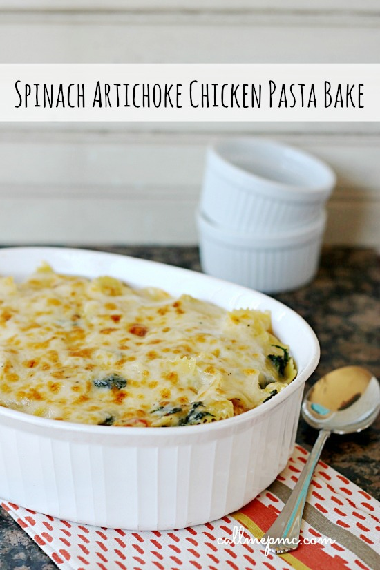 Spinach Artichoke Chicken Pasta Bake from Call Me PMc