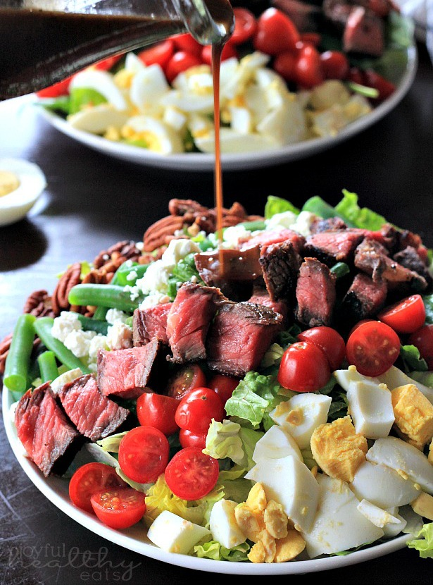 Steak Salad with Balsamic Vinaigrette from Joyful Healthy  Eats