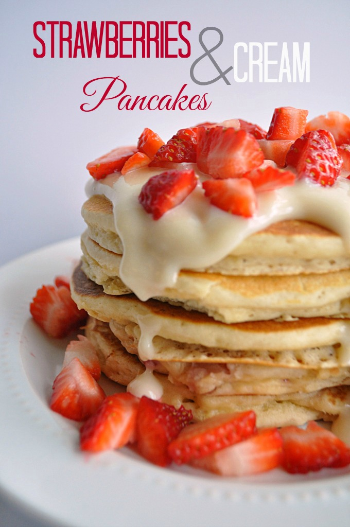 Strawberries and Cream Pancakes from House of Yumm