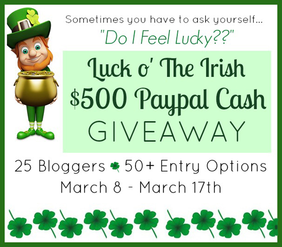 Do you feel lucky? Grab a chance to win $500 in Paypal Cash in Luck o' the Irish Giveway at littlemisscelebration.com
