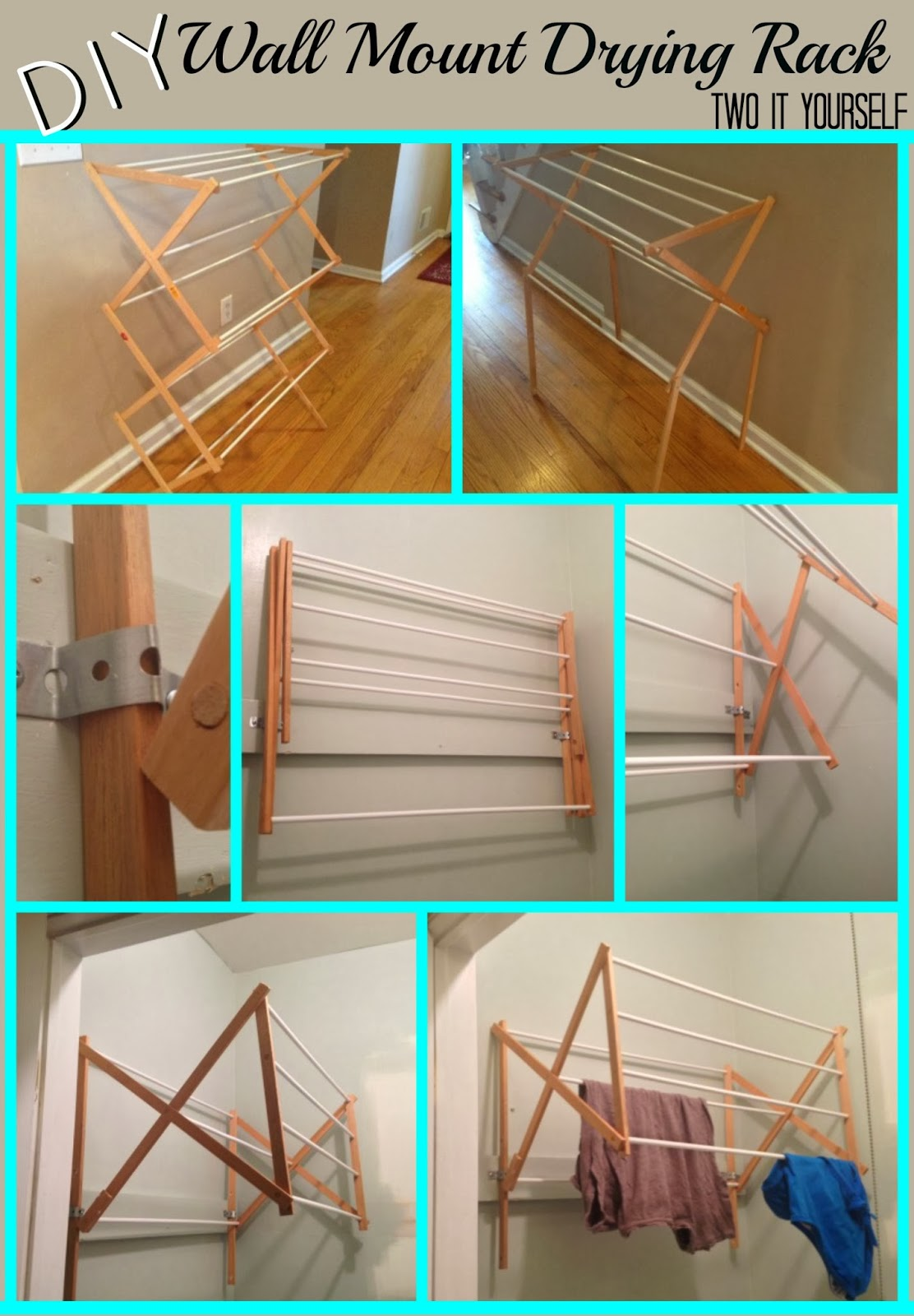 DIY Wall Mount Laundry Drying Rack from Two It Yourself